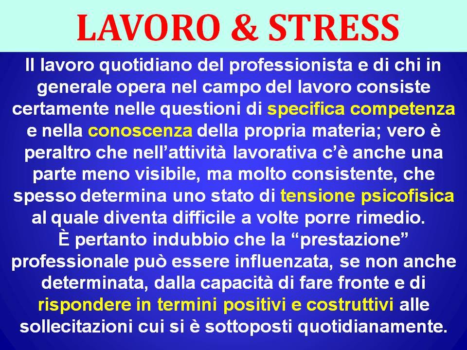LAVORO & STRESS SITO