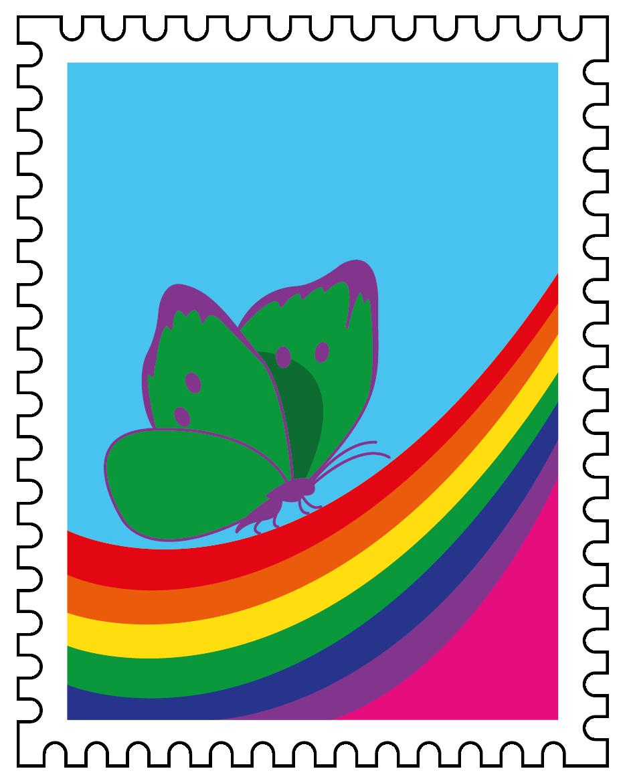 francobollo farfalla 2020 verde-viola